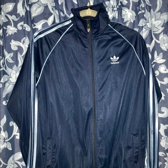 Clothing, Shoes & Accessories Adidas Vtg Navy Blue And Black Full Zip Tricot Track Jacket Size Xl Special Buy